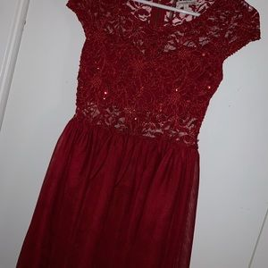 cute red lacey dress